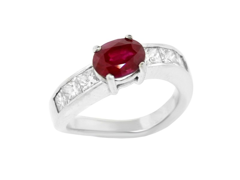 18K White Solitaire Ruby and Diamond Accent Twist Ring