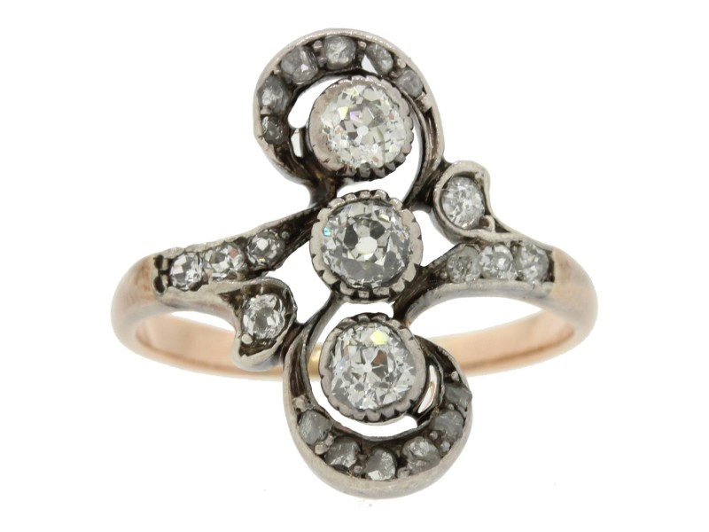 14k Rose Gold Sterling Silver .50ctw Diamond Antique Victorian Ring