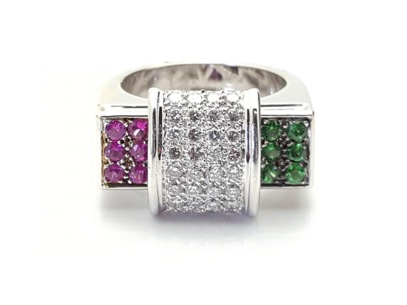 18K White Gold 0.80ct Diamond, 0.48ct Tsavorite & 0.48ct Sapphire Ring Sz 6.5
