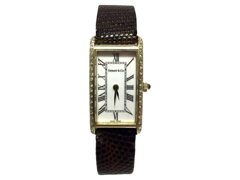 Tiffany & Co. 14K Yellow Gold / Leather with White Dial 16.5mm Womens Watch