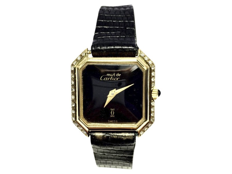 Cartier Must De Cartier 18K Yellow Gold Electroplated with Custom Diamond Bezel 24mm Womens Watch