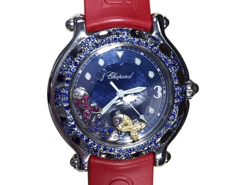 Chopard Happy Sport Stainless Steel Floating Rubies & Blue Yellow Sapphires 32.70mm Womens Watch