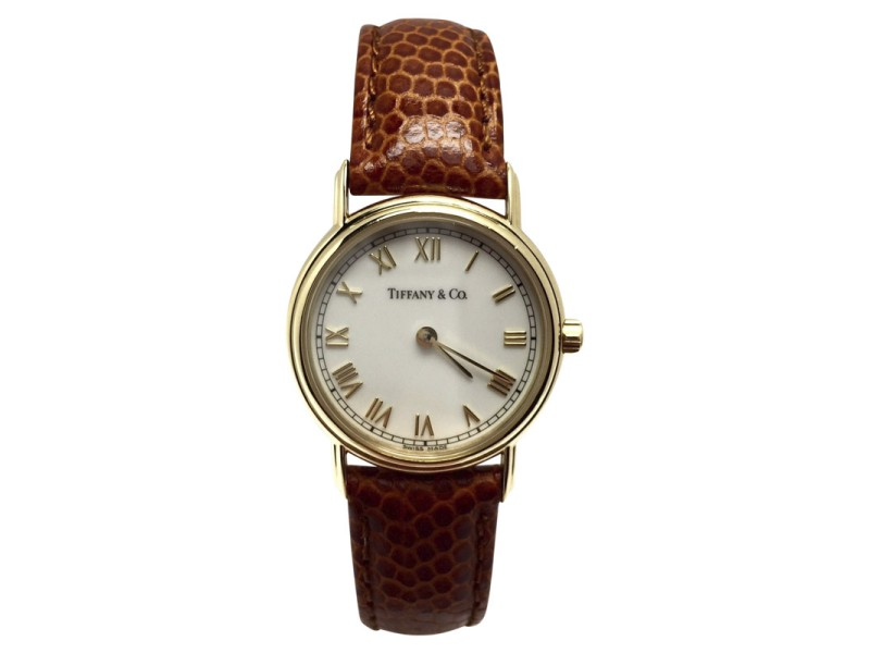 Tiffany & Co. 18K Yellow Gold / Leather with White Dial 25.5mm Womens Watch