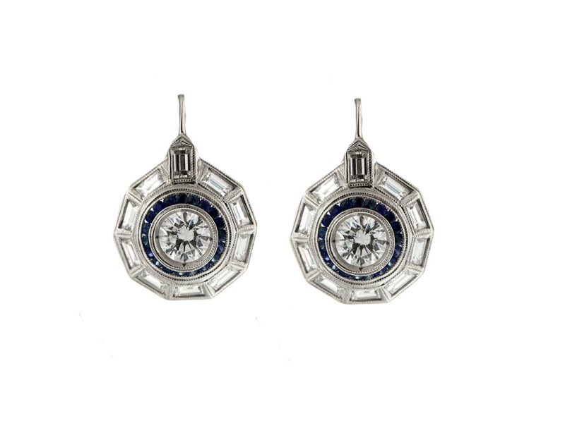 Platinum Vintage Style Diamond Earrings