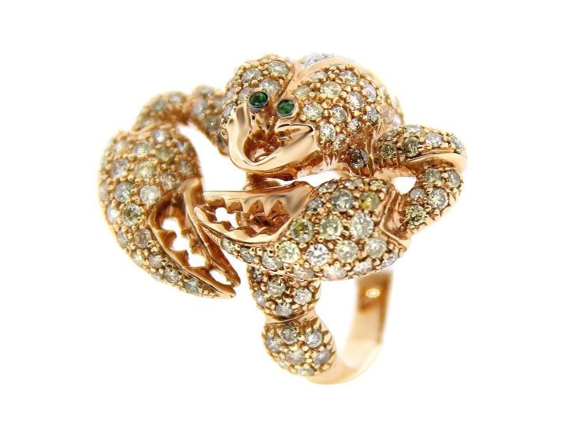 18K Rose Gold Diamond Scorpion Ring