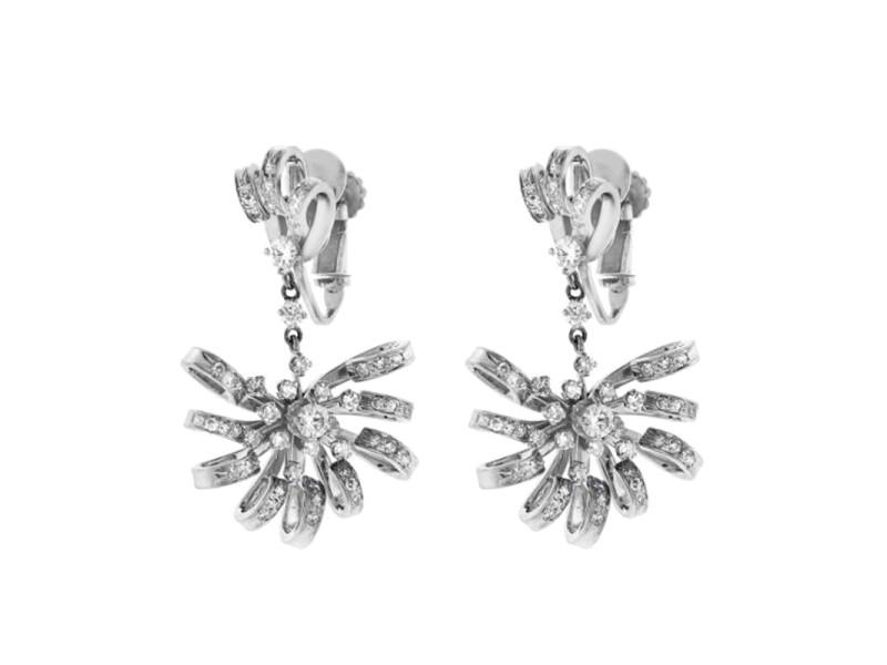 Platinum Diamond Fan Drop Earrings