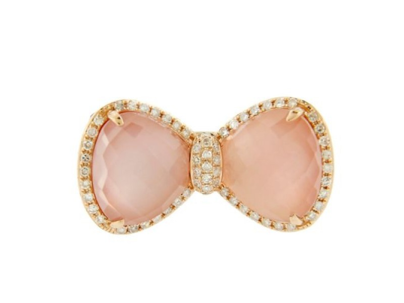 14K Rose Gold Pink Sapphire & Diamond Bow Tie Cocktail Ring
