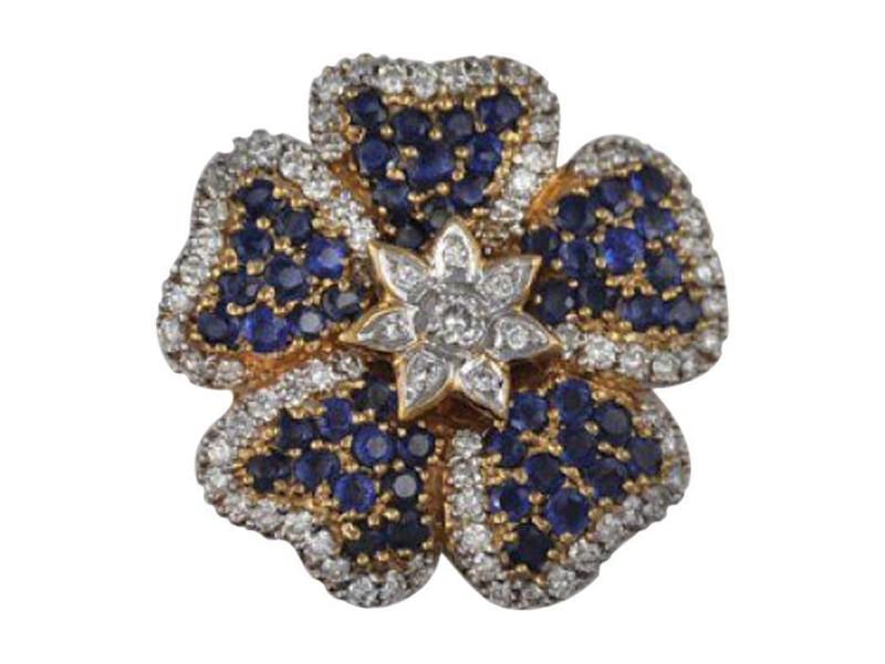 Salavetti 18K Yellow Gold Sapphire Diamond Floral Brooch Pin