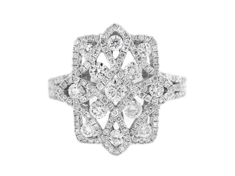 14K White Gold Diamond Cross Ring