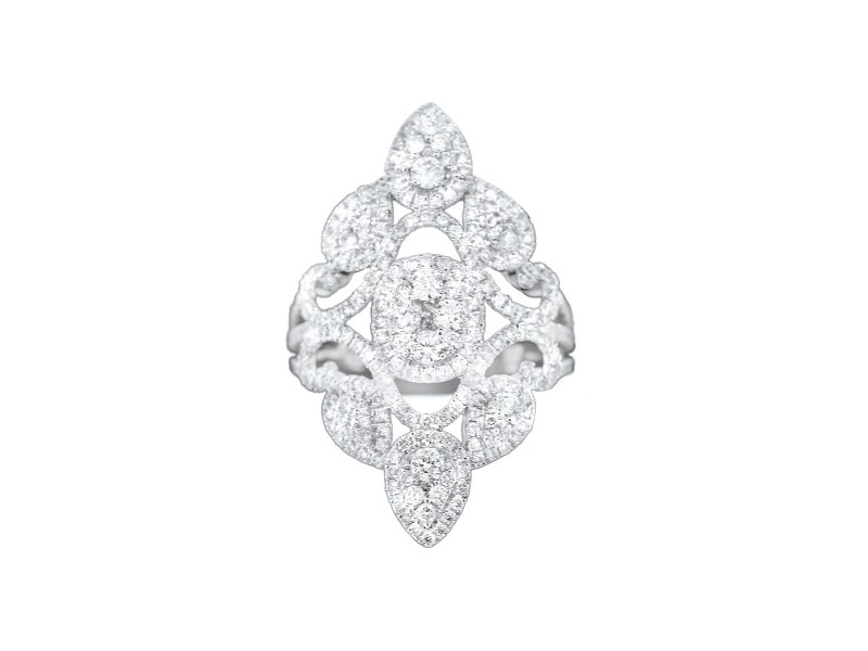 18K White Gold & Diamond Embellished Petal Ring