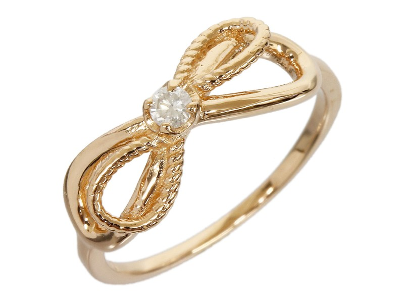Agete 10K Rose Gold 0.03ct. Diamond Ribbon Pinkie Ring Size 2.25