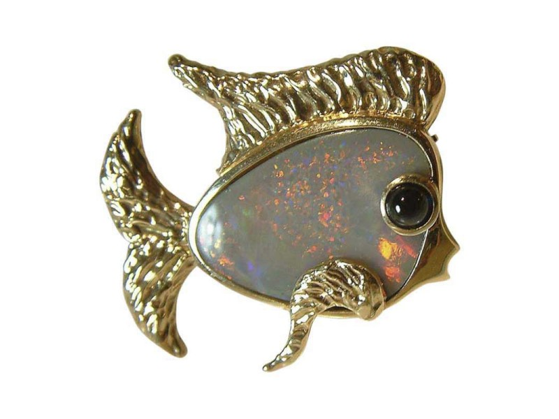 14K Yellow Gold Opal Sapphire Fish Brooch Pin
