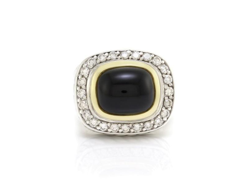 David Yurman Sterling Silver & 18K Yellow Gold Albion Onyx & Diamond Ring Size 7