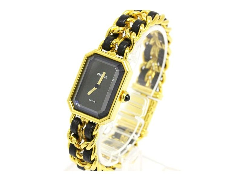 Chanel Premiere Gold Plated Leather Quartz Womens Watch