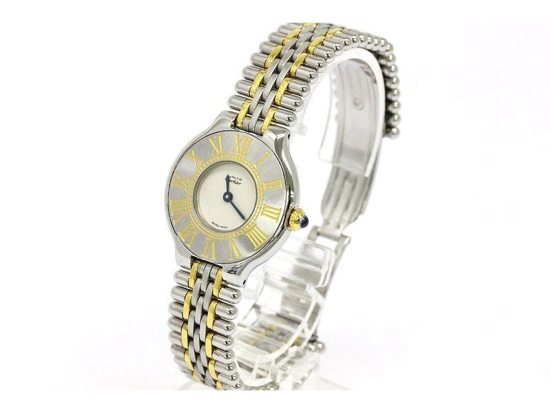 Cartier Must 21 Gold Plated Steel Quartz Womens Watch