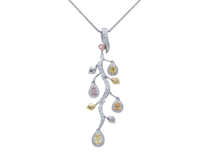 Michael Beaudry Platinum Yellow Gold Diamond Pendant Necklace