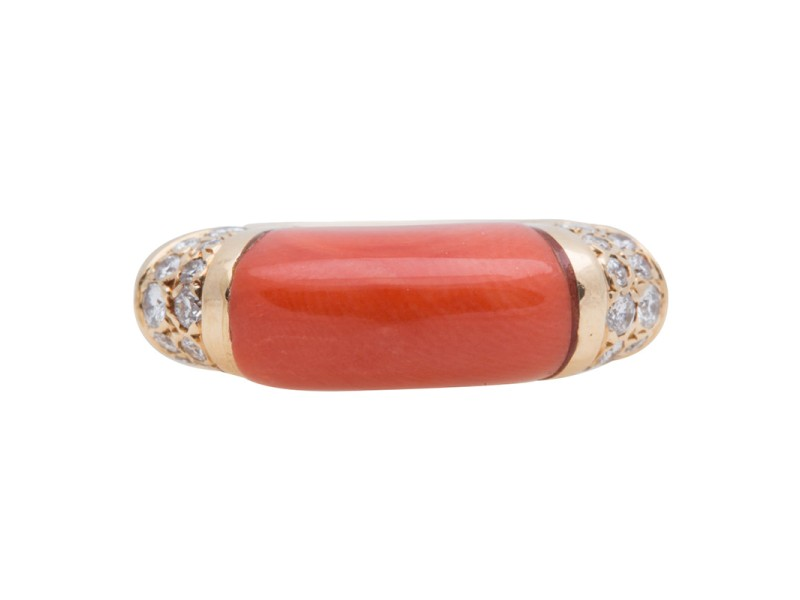 Cartier 18K Yellow Gold Diamond & Coral Ring