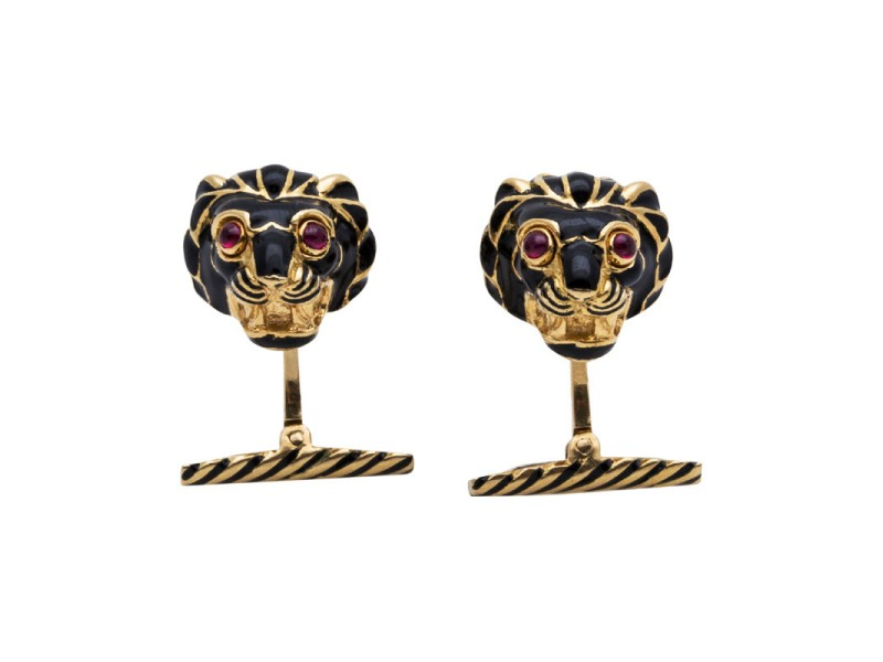 David Webb 18K Yellow Gold Enamel Ruby Lion Cufflinks
