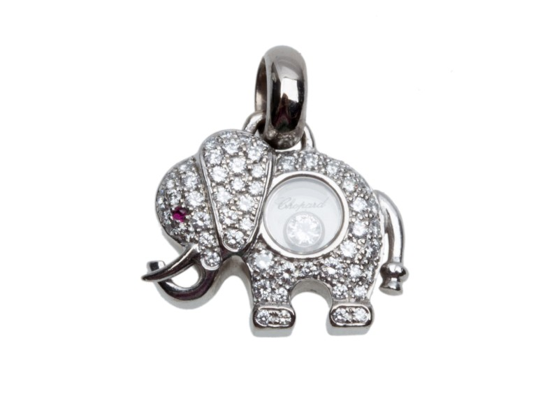 Chopard 18K White Gold & Diamond Elephant Pendant