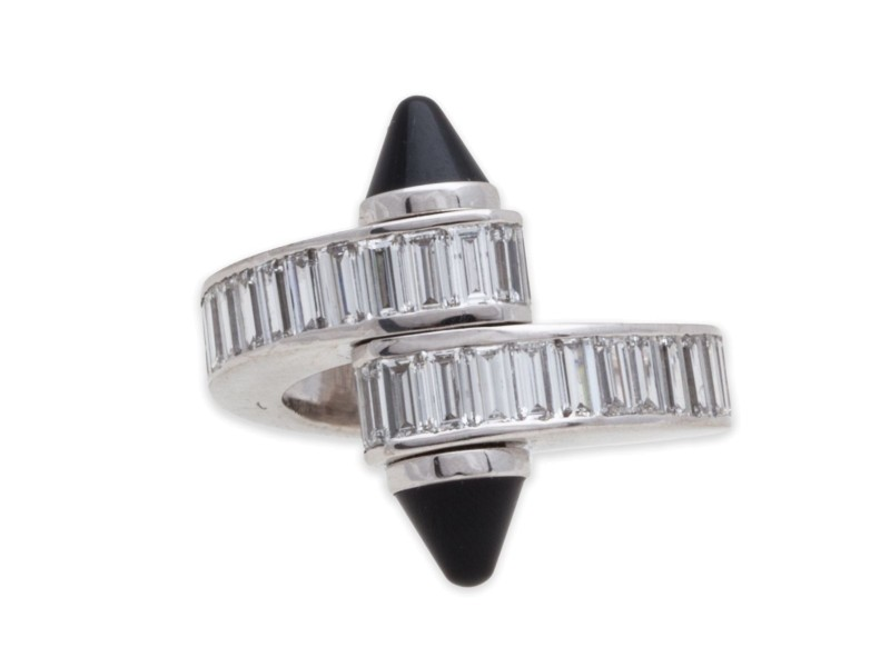 Cartier 18k White Gold Baguette Diamond Onyx Ring