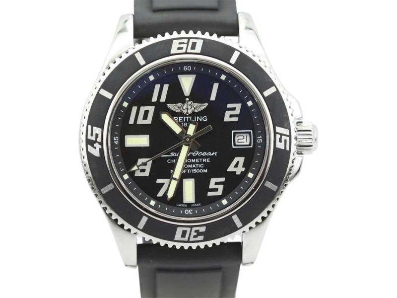 Breitling Superocean A17364 Black Dial Rubber Strap With Push Piece Deploy Mens Watch