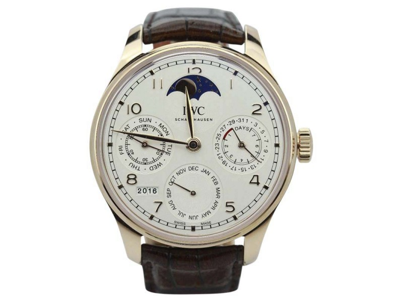 IWC Portuguese Perpetual Calendar IW503302 Single Moon Rose 44mm Mens Watch