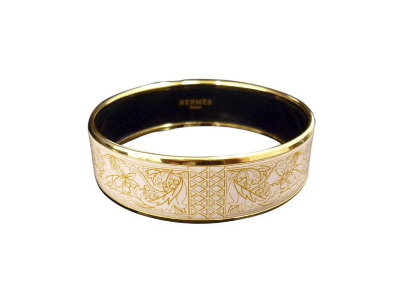 Hermes Gold Tone Metal, Cloisonne and White Brown Enamel Bangle Bracelet