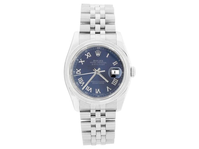 Rolex Datejust 116200 Stainless Steel Blue Roman Dial Smooth Bezel Mens Watch