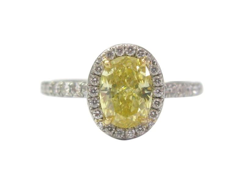 Tiffany & Co. Platinum Yellow Diamond Soleste Engagement Ring