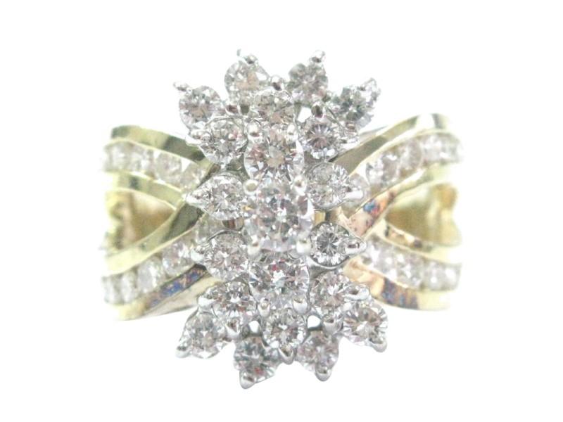Yellow Gold Diamond Cluster Jewelry Ring