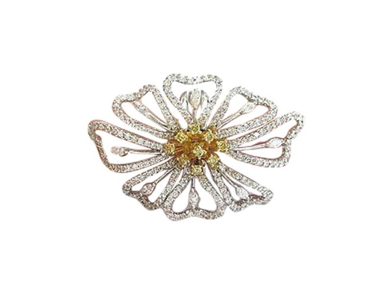 18K Big Flower Diamond White Gold Jewelry Ring 2.60CT
