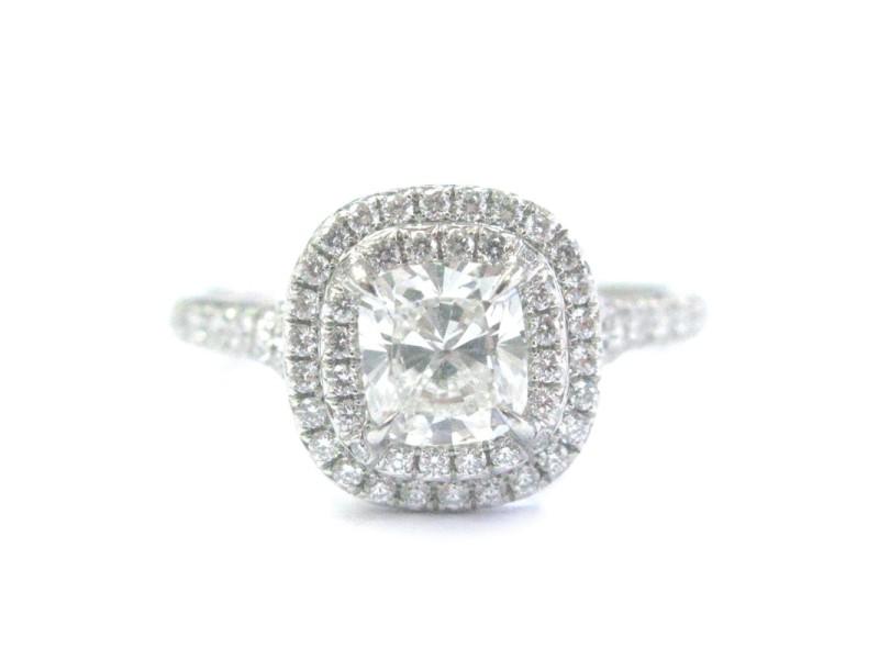 Tiffany & Co Platinum 1.21ct Cushion Cut Diamond Soleste Engagement Ring