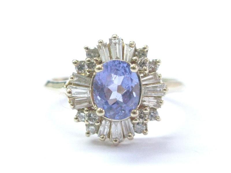 14K Yellow Gold Tanzanite & Multi Shape Diamond Ring