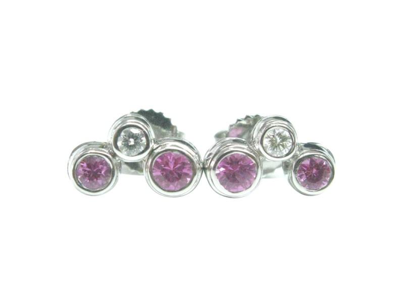 Tiffany & Co Platinum Pink Sapphire Diamond Bubble Earrings