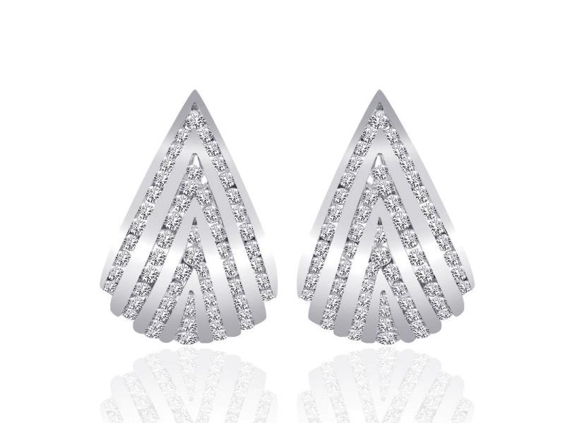14K White Gold Diamond Triangle J-Hoop Earrings