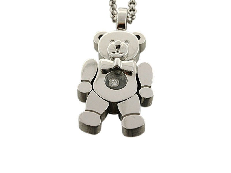 Chopard Happy Diamonds 18K White Gold Teddy Bear Pendant Chain Necklace