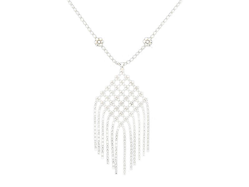 Tiffany & Co. Fringe 18k White Gold Dangle Drop Pendant Flower Necklace