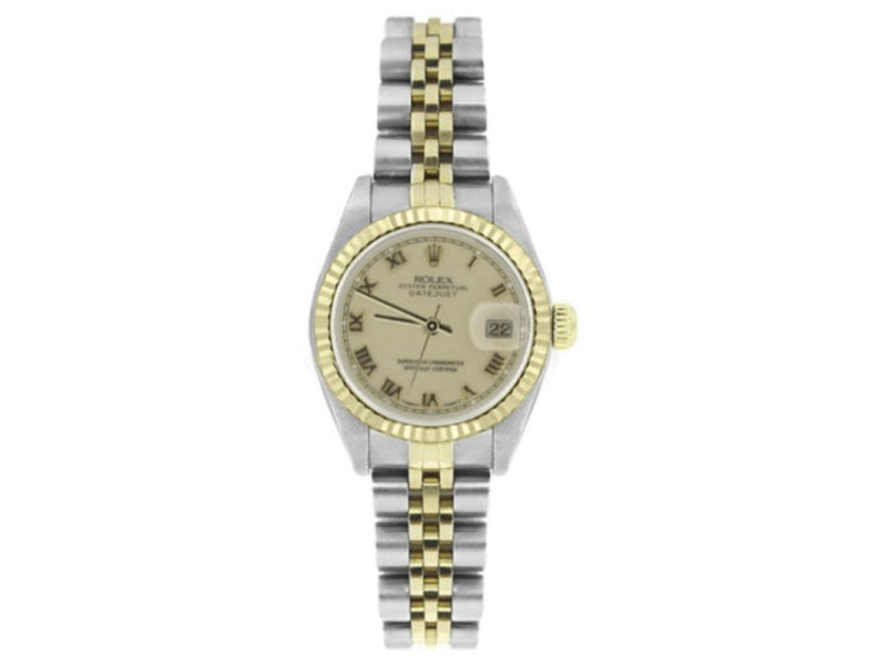 Rolex Datejust 6917 Stainless Steel 18K Yellow Gold Cream Roman Dial 26mm Womens Watch