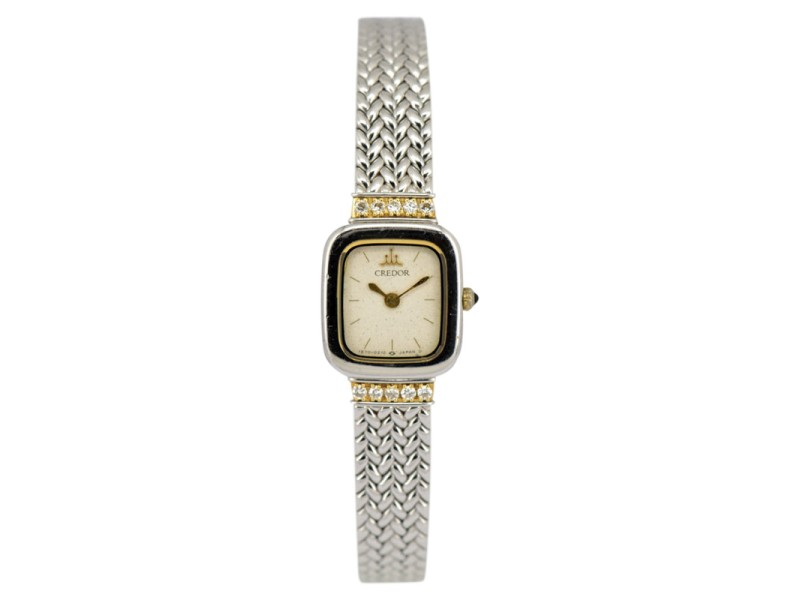 Seiko Credor 1E70-5130 Stainless Steel & 18K Yellow Gold Quartz 14.5mm Womens Watch