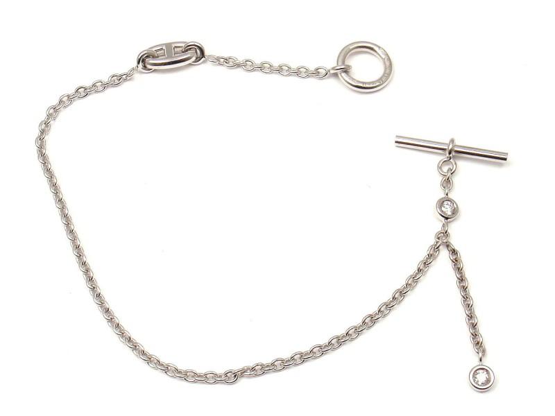 Hermes 18K White Gold Diamond Chaine Ancre Bracelet