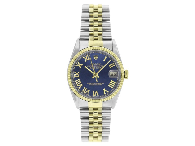 Rolex Steel & Gold Datejust 16233 Blue Roman Dial 18K Gold Fluted Bezel Mens 36mm Watch