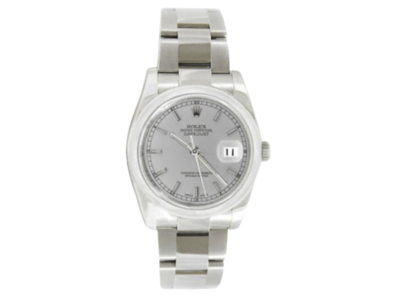Rolex Datejust Oyster Steel 116200 Silver Stick Dial Smooth Bezel Mens 36mm Watch
