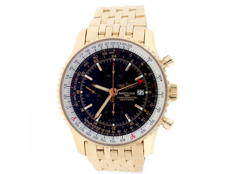 Breitling Navitimer World H24322 18K Rose Gold 46mm Watch