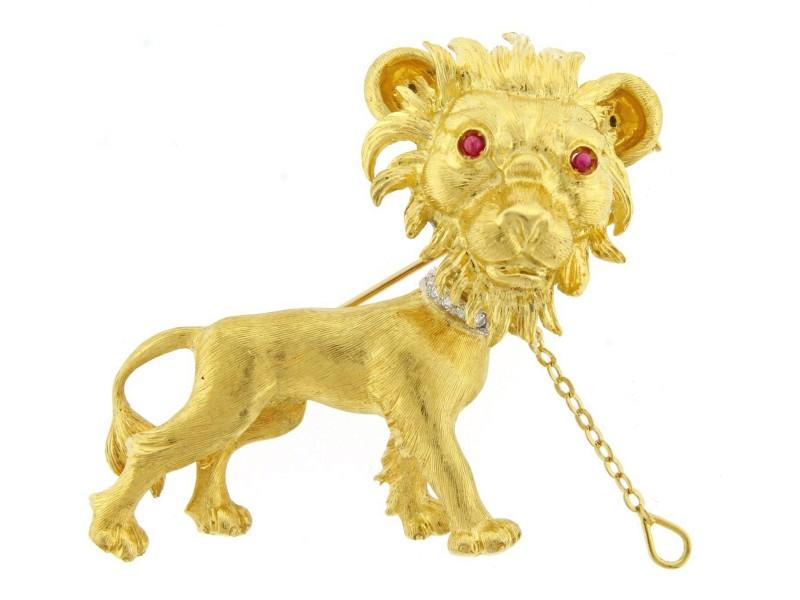 Buccellati 18K Yellow Gold Lion Brooch