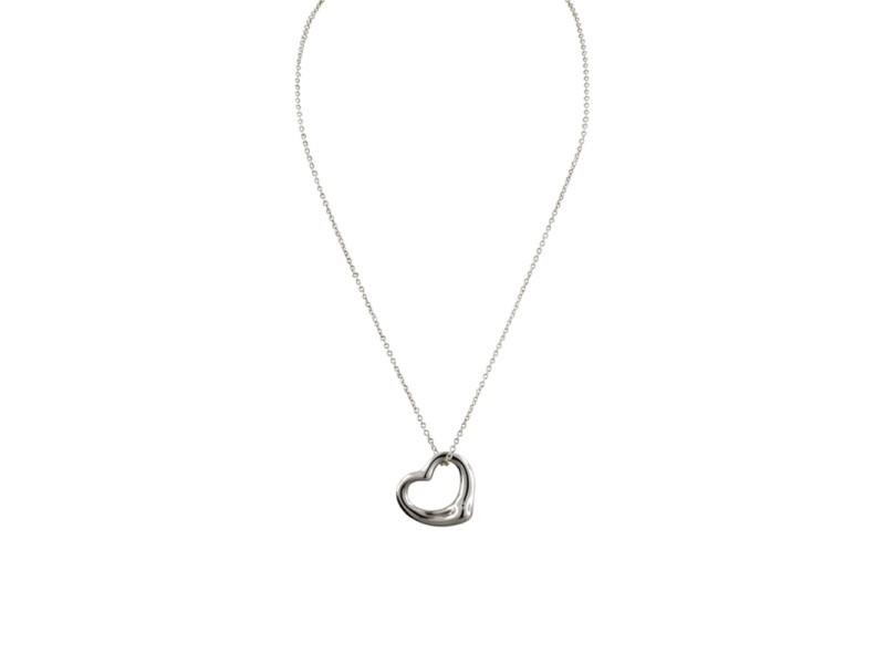 Tiffany & Co. Elsa Peretti Sterling Silver Open Heart Pendant & Chain Necklace