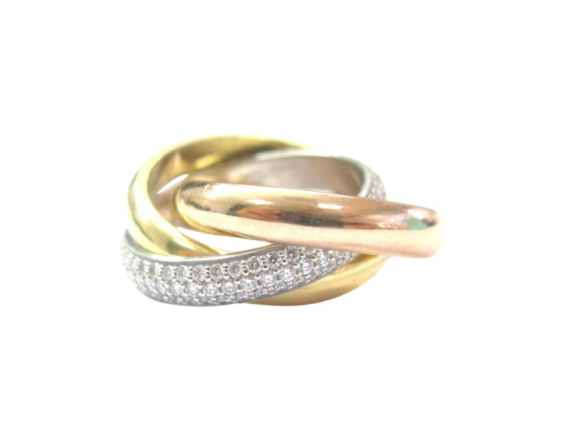 Cartier 18K Tri Color Gold Trinity Pave Diamond Ring