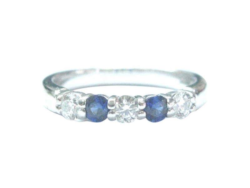 18Kt Gem Sapphire Diamond White Gold Band Ring .40Ct