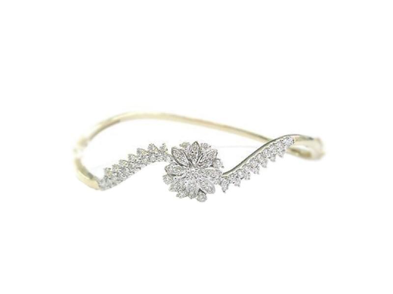 18K Yellow Gold Circular Round Cut Diamond Bangle Bracelet