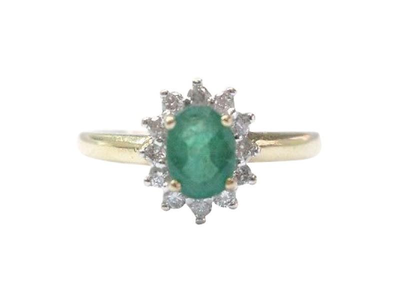 14K Yellow Gold Diamond & Emerald Anniversary Ring