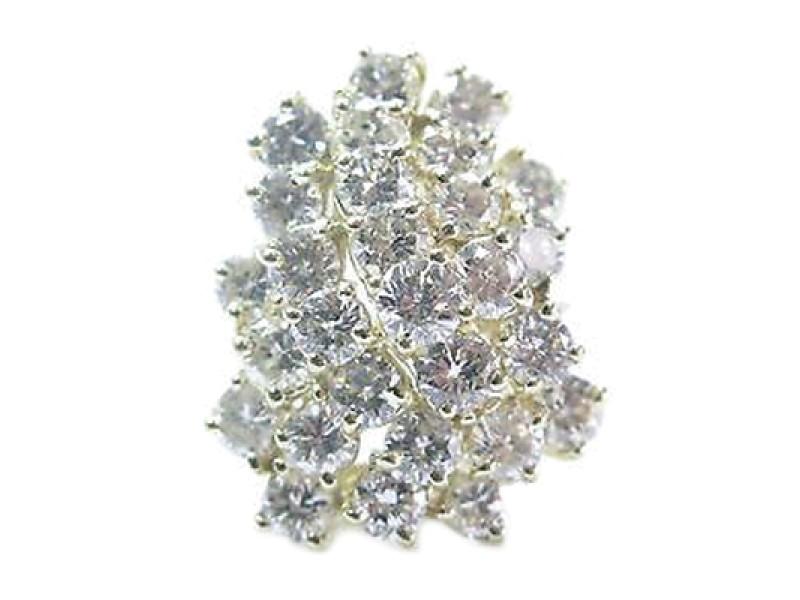 Fine Round Cut Diamond Cluster Yellow Gold Jewelry Ring 5.60CT